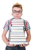 Student z stos książek — Zdjęcie stockowe