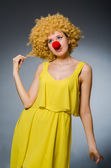 Funny woman in clown dressing — Stock Photo