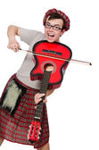Funny scotsman with musical instrument — Foto de Stock