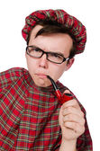 Scotsman with smoking pipe — Stock Photo