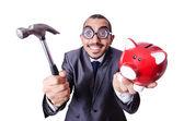Funny man with piggybank — Stock Photo