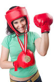 Woman boxer — Stock Photo