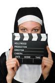 Rahibe film kurulu ile — Stok fotoğraf