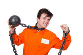 Inmate with chains — Stock Photo