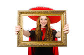 Mexican woman with picture frame — Stockfoto