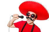 Funny mexican with mic — Stock Photo