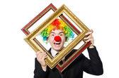 Klaun s fotorámeček — Stock fotografie
