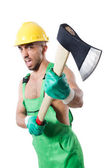 Worker with axe — Stockfoto