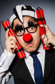 Funny clown with sticks of dynamite — Foto de Stock