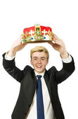 Businessman with crown — Stock Photo