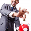 Man with piggybank — Stock Photo