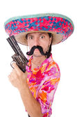 Funny mexican with gun — Stock Photo