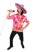 Mexican with microphone — Stock Photo