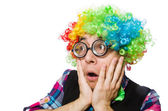 Funny clown surprised — Stockfoto