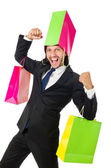 Man with shopping bag on head — Stock Photo