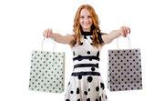 žena s nákupní tašky — Stock fotografie