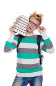 Student with stack of books — Stock Photo