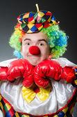 Funny clown with box gloves — Zdjęcie stockowe