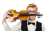 Lustiger mann mit violine — Stockfoto