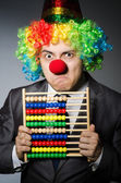 Funny clown businessman with abacus — Foto de Stock