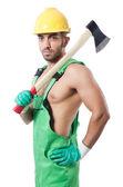 Trabalhador com machado — Foto Stock