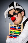 Funny clown with abacus — Stock fotografie