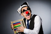 Funny clown with abacus — Foto de Stock