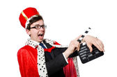 King with movie clapboard — Stock Photo