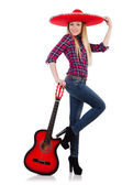 Woman in sombrero hat with guitar — Stock Photo