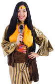 Woman in Spanish clothing with mic — Stock Photo