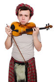 Funny scotsman with violin — Stock Photo