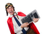 Funny hero with keyboard — Stock Photo
