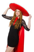 Mexican woman in red clothing — Stock Photo