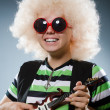 Funny man with miniature guitar — Stock Photo #49404091