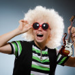 Funny man with miniature guitar — Stock Photo #49404103