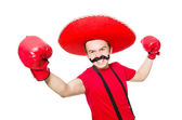Funny mexican with boxer gloves — Stock Photo