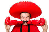 Funny mexican with boxer gloves — Stockfoto