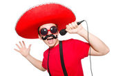 Mexican with mic — Stock Photo