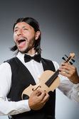Funny fiddle violin player — Stock Photo