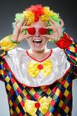 Legrační klaun v ateliéru — Stock fotografie