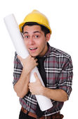 Funny man with blueprints — Stock Photo