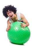 Muž s swiss míč — Stock fotografie