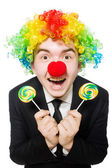 Clown met lolly — Stockfoto