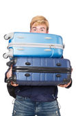 Funny man with luggage — Stock Photo