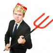 Постер, плакат: Businessman in crown with trident pitchfork