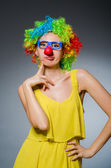 Funny woman in clown dressing — Foto de Stock