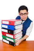 Funny man with lots of folders — 图库照片