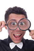 Funny man with magnifying glasses — Stockfoto