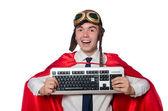 Funny hero with keyboard — Zdjęcie stockowe
