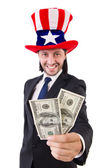 Man with american dollar and hat — Stock Photo